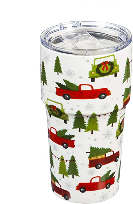 Cypress Home Beautiful Farmhouse Christmas Double Wall Ceramic Companion Cup with Tritan Lid - 4 x 4 x 6 Inches Indoor/Outdoor home goods For Kitchens, Parties and Homes