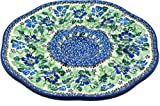 Polish Pottery 9¼-inch Egg Plate made by Ceramika Artystyczna (Morning Glory Wreath Theme) Signature UNIKAT + Certificate of Authenticity
