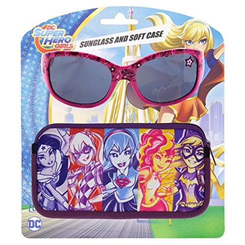 Superheroes With Glasses (WB DC Comics Super Hero Girls Kids Children Girls Sunglasses with Soft Carrying Case)