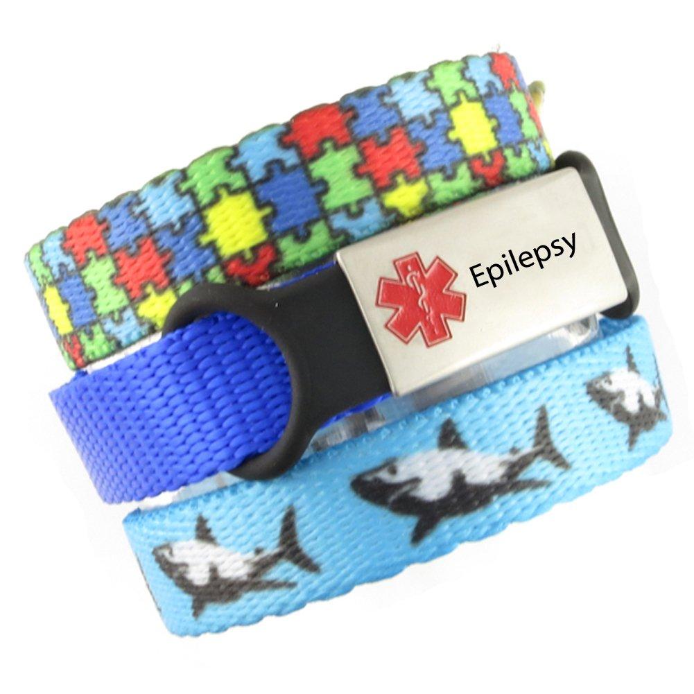 3 Bracelet Value Pack   Epilepsy, Kid's Medical Alert Bracelets   Choice of Fun Designs   Children's Medical ID Bracelets   Adjustable