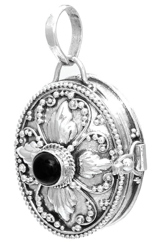 windalf Pendentif Sira H: 3.4cm médiéval médaillon avec Onyx Noire main en argent sterling 925