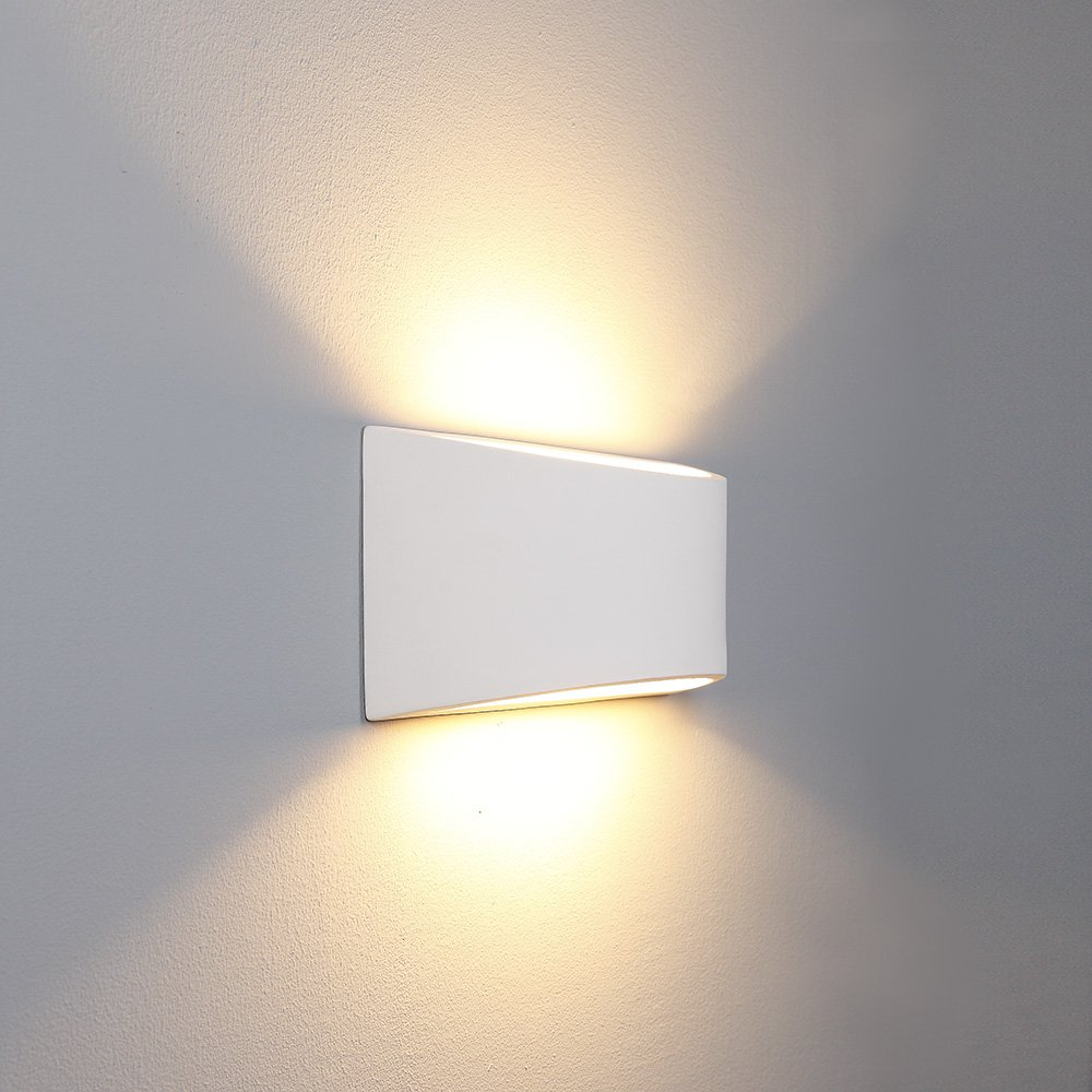 Gipswandleuchte Pomos Up&Down   Wandlampe überstreichbar     Leuchte inkl. 4W LED-Leuchtmittel   Gipslampe E14   Gipsleuchte weiß 3db216