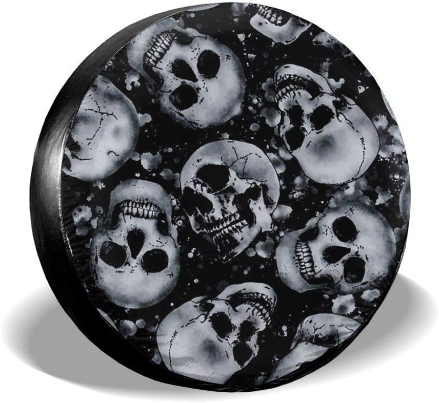 Skull Car Tire Cover Rainproof Protective Cover Cape Water Proof Universal Spare Wheel Tire Cover Fit for Trailer RV SUV and Various Vehicles 14 15 16 17 Inch Belleeer Spare wheel cover