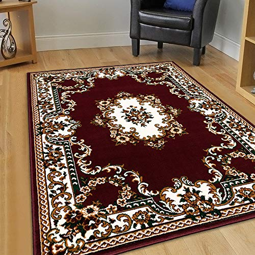 Maxstock Taj Mahal Collection Persian Traditional Design Rectangular Area Rugs -Burgundy/Ivory/Black/Beige/Green (8 Feet x 10 ()