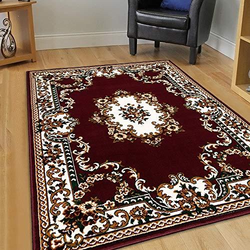 Maxstock Taj Mahal Collection Persian Traditional Design Rectangular Area Rugs -Burgundy/Ivory/Black/Beige/Green (8 Feet x 10 Feet)