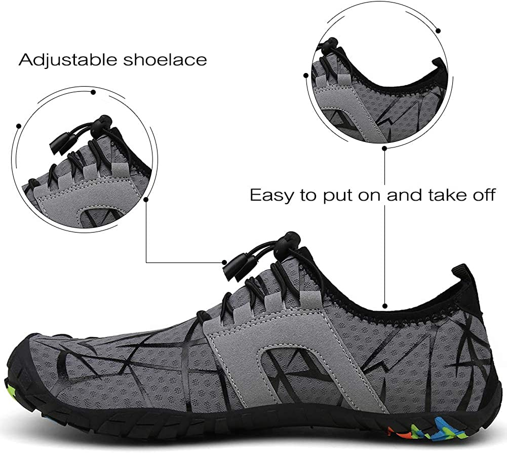 kealux Mens Womens Aqua Water Shoes Quick Dry Barefoot Shoes for Beach Swim Diving Surf Yoga Walking Running Outdoor Exercise