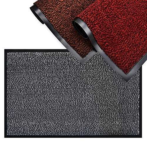 SHOWIN Entry Mat | Carpet Entrance Mat (Black-White 16 X 24) Front Door Mat Absorbent,Non Slip,Indoor/Outdoor Entry Rug (Multiple Sizes) (40cm x 60cm)