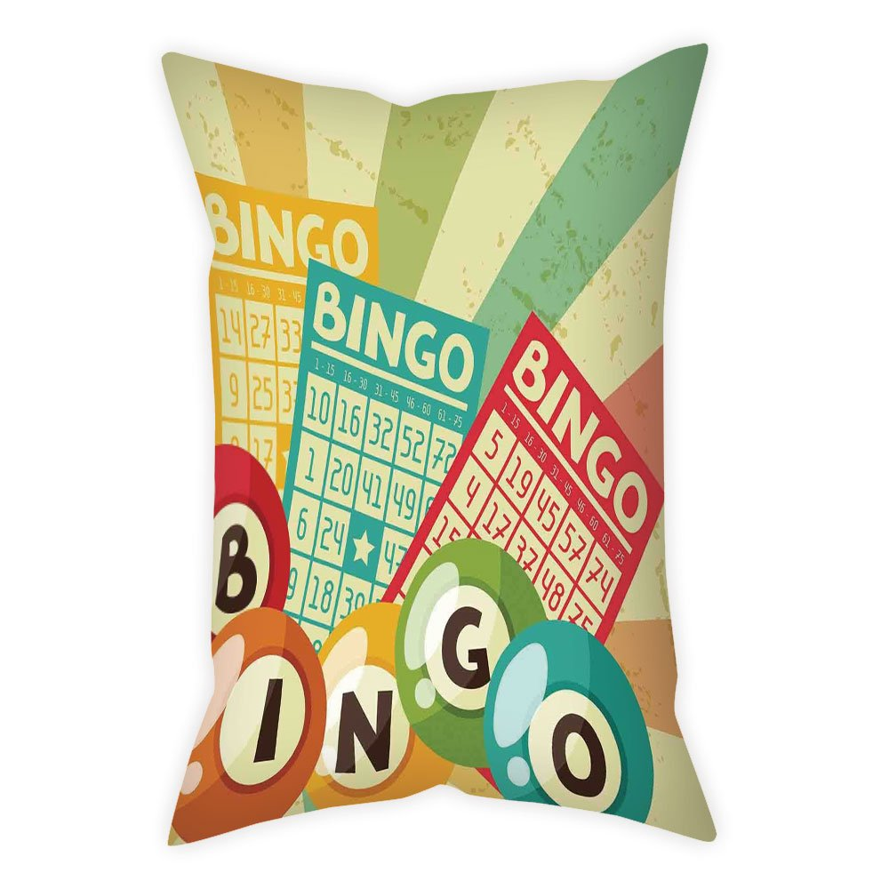 iPrint Polyester Throw Pillow Cushion Cover,Vintage Decor,Bingo Game with Ball and Cards Pop Art Stylized Lottery Hobby Celebration Theme,Multi,Decorative Square Accent Pillow Case