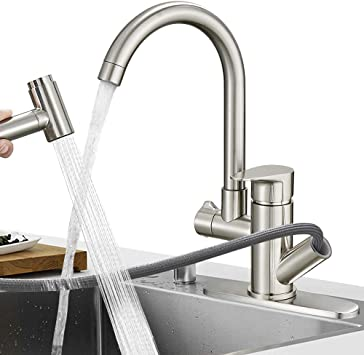 Hoimpro Commercial High Arc Single Handle Kitchen Sink Faucet With Pull Out Sprayer Modern Rv Kitchen Faucet With Pull Down Sprayer 3 Function Touch Water Faucet 1 Or 3 Hole Brass Brushed Nickel Talkingbread Co Il