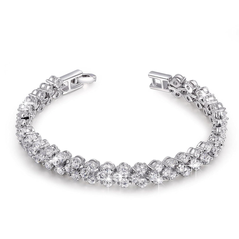 QIANSE AAA Cubic Zirconia Gemstone Women's Wedding Jewelry Set Fashion Earrings Pendant Necklace Tennis Bracelet Sets (Tennis bracelet)
