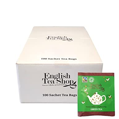 English Tea Shop - Fairtrade & Organic Green Tea - Catering Box - 100  Individually Wrapped - 2gx100