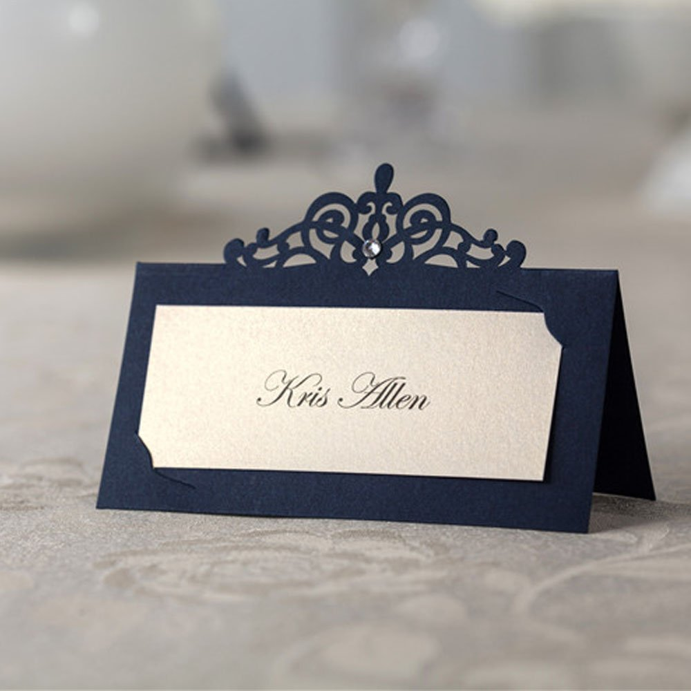 Amazon 48x Blue Laser Cut Wedding Name Place Cards Birthday