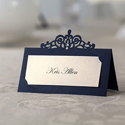 Wedding Name Cards.48x Blue Laser Cut Wedding Name Place Cards Birthday Party Favors Table Name Seat Cards Cp502