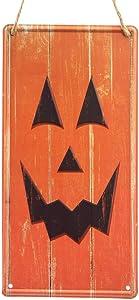"Halloween Jack-O-Lantern Face Tin Sign - 6"" x 12"", Orange Smiling Pumpkin Party, Halloween Decorations, Classroom, Office, Home Decor, Wreath, Garland, Porch, Kitchen, Garage, Storefront"