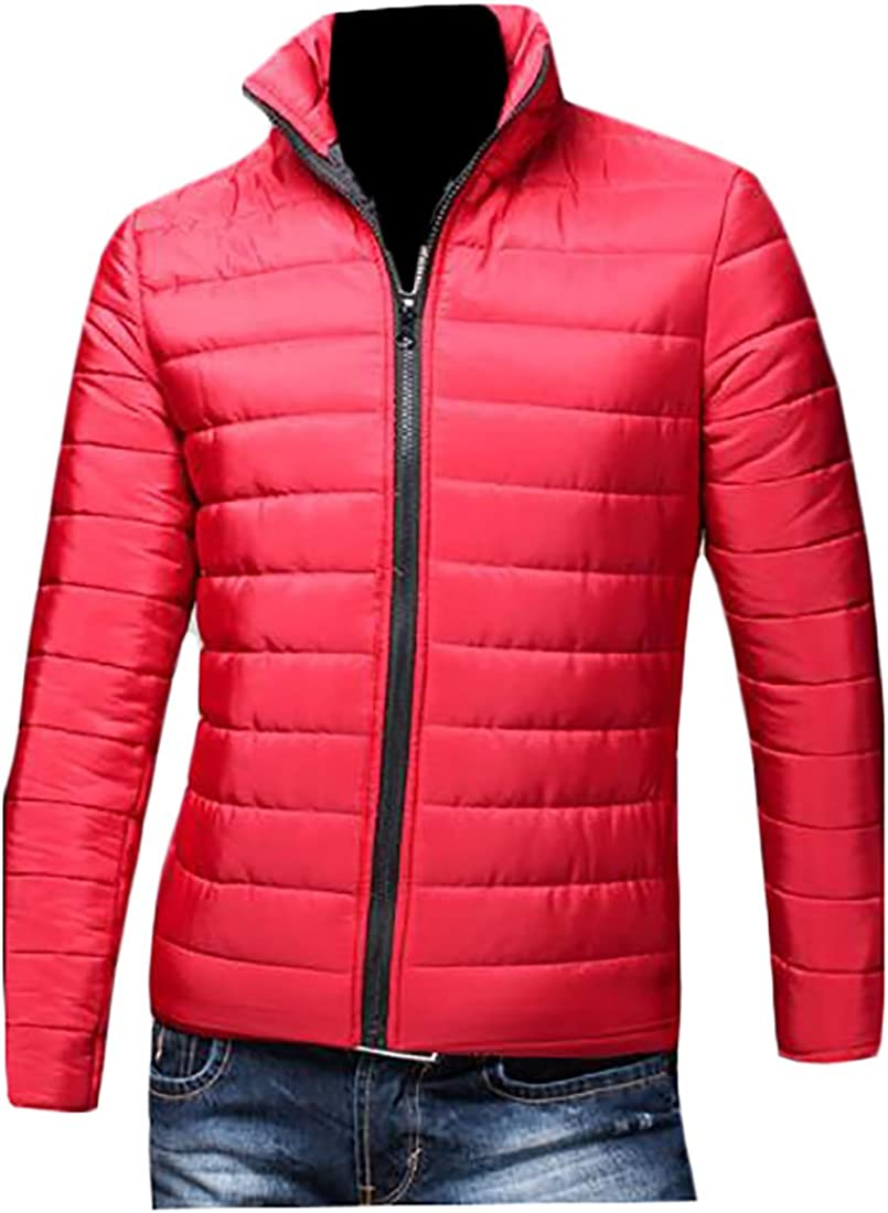 CRYYU-Men Packable Lightweight Down Puffer Zipper Jacket Windproof Coat