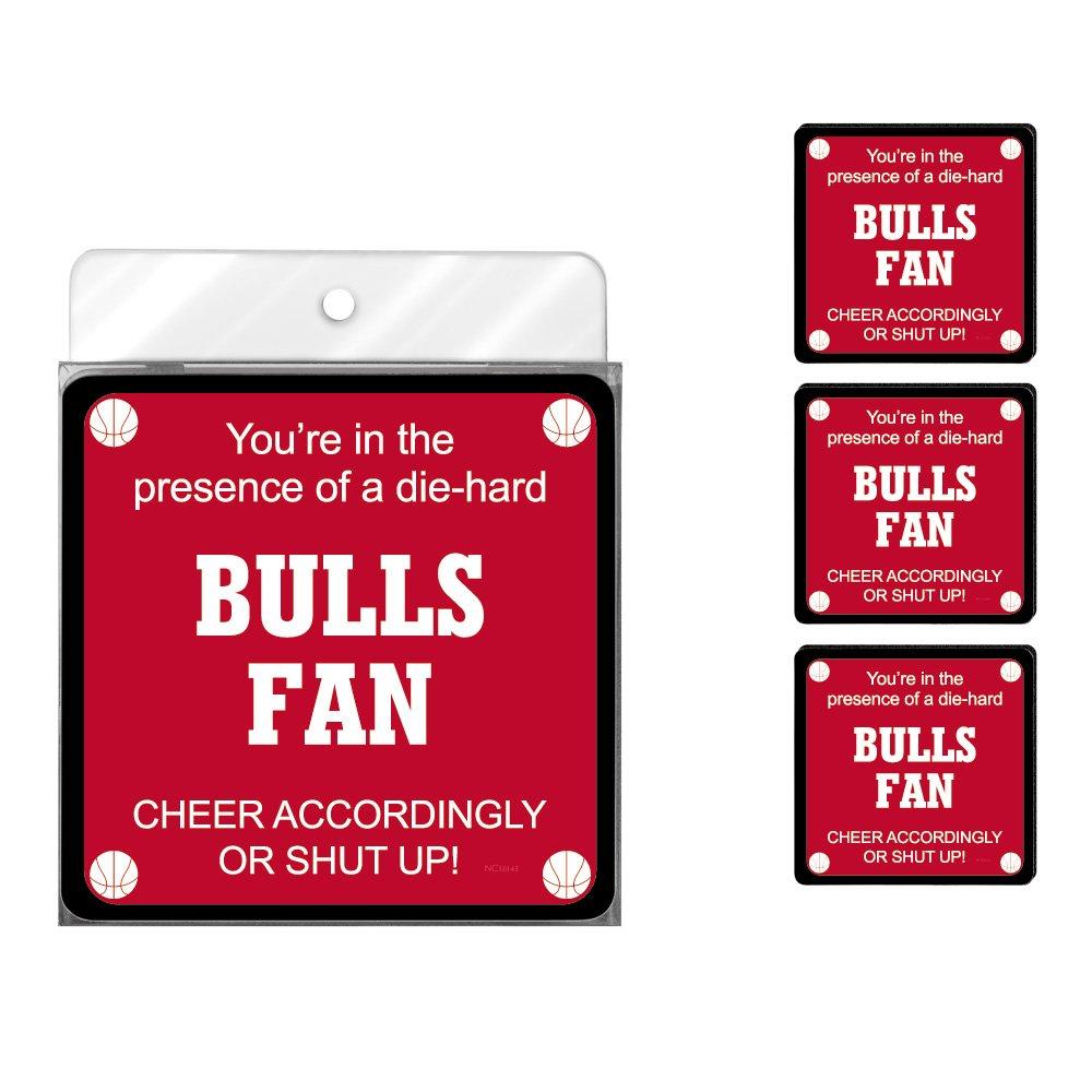 Tree-Free Greetings NC38143 Bulls Basketball Fan 4-Pack Artful Coaster Set