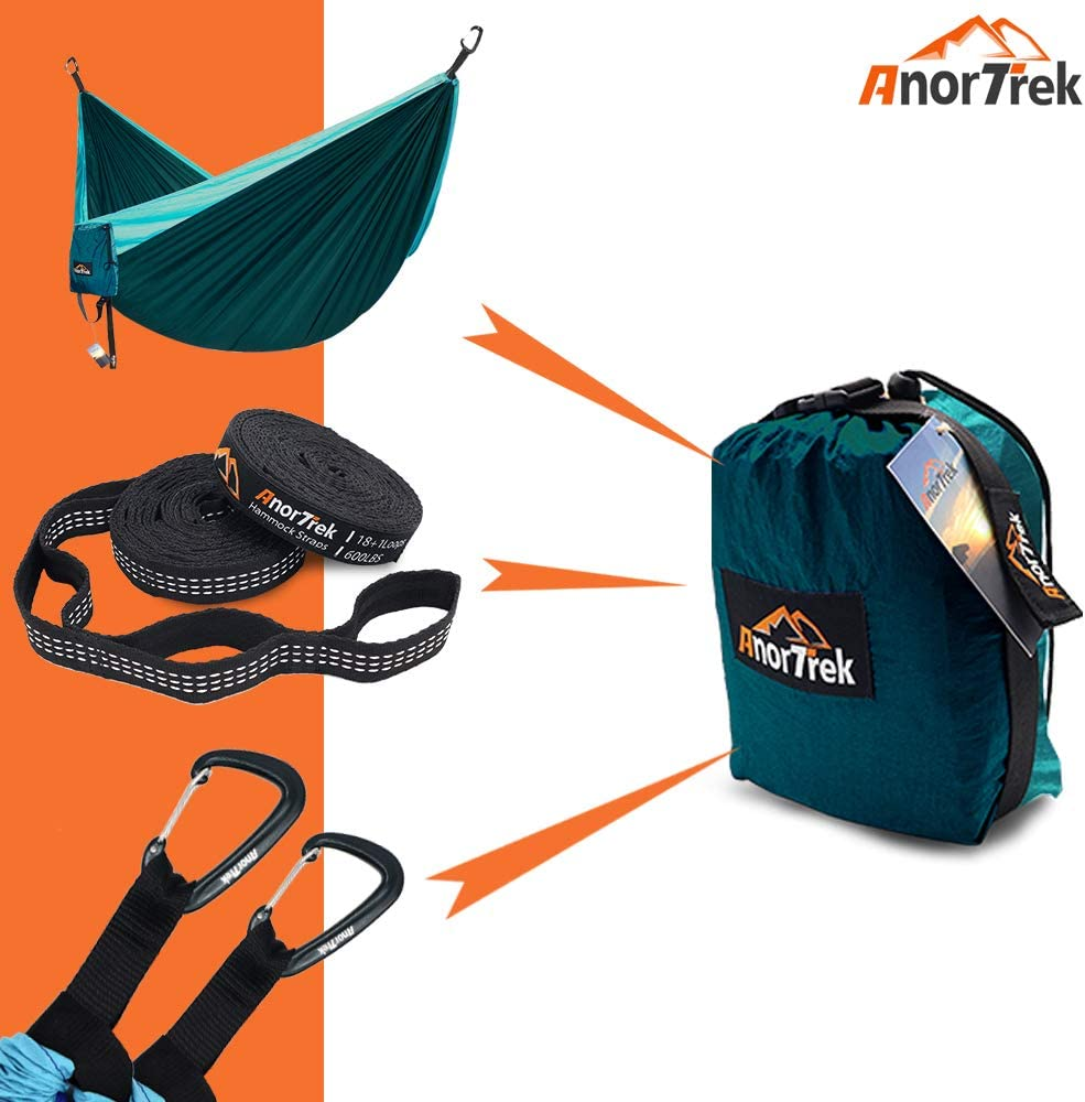 Garden Hiking Parachute Hammock for Camping AnorTrek Camping Hammock 10 FT//18+1 Loops Lightweight Portable Single /& Double Hammock with Tree Straps