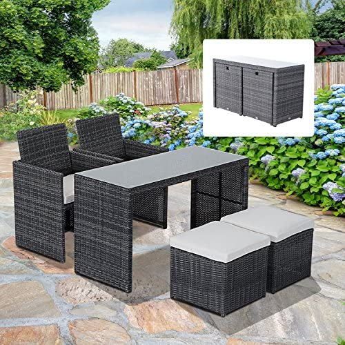 Outsunny 5-Piece Outdoor Rattan Wicker Dining Set Cushioned Patio Sectional Furniture with Glass Top Table