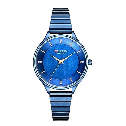 Sannysis Reloj Moda Relojes Pulsera Mujer,Simple con Circonta,Aleación de Titanio Analógico Cuarzo Reloj de Pulsera (Azul): Amazon.es: Relojes