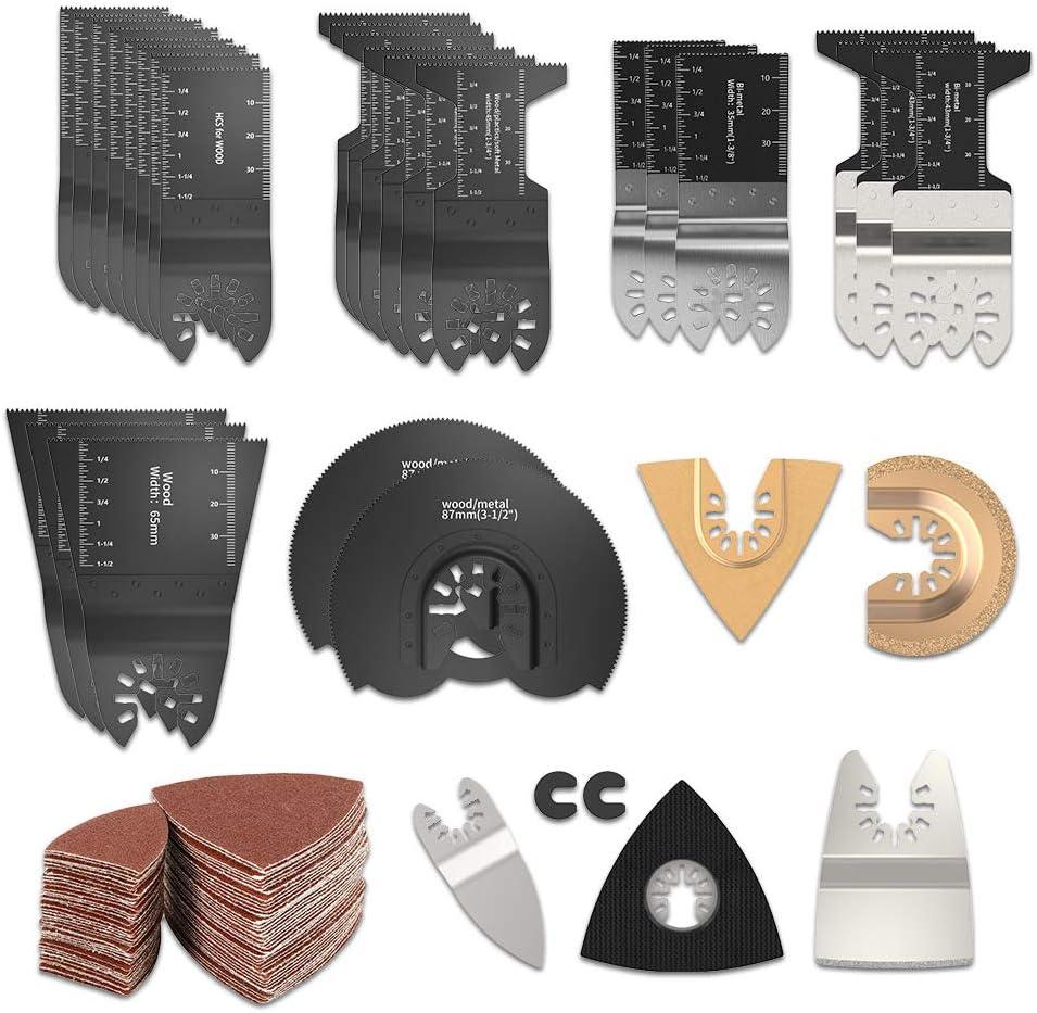 HOTBEST 108 Pcs Wood/Metal Oscillating Multi Tool Saw Blades Accessories Kit Quick Release MultiTool Kits Fits for Fein, Black&Decker Bosch Chicago Dewalt Ryobi Milwaukee Makita Craftsman