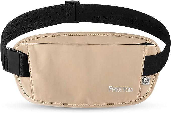 Noir sacoche avec 7 poches de sécurité sécurité en voyage argent ceinture porte-monnaie nouveau *