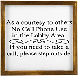DONL9BAUER Courtesy No Cell Phone Use Wooden Framed Sign Lobby Area Wall Hanging Modern Rustic Farmhouse Decor Wall Art for Kitchen Living Room