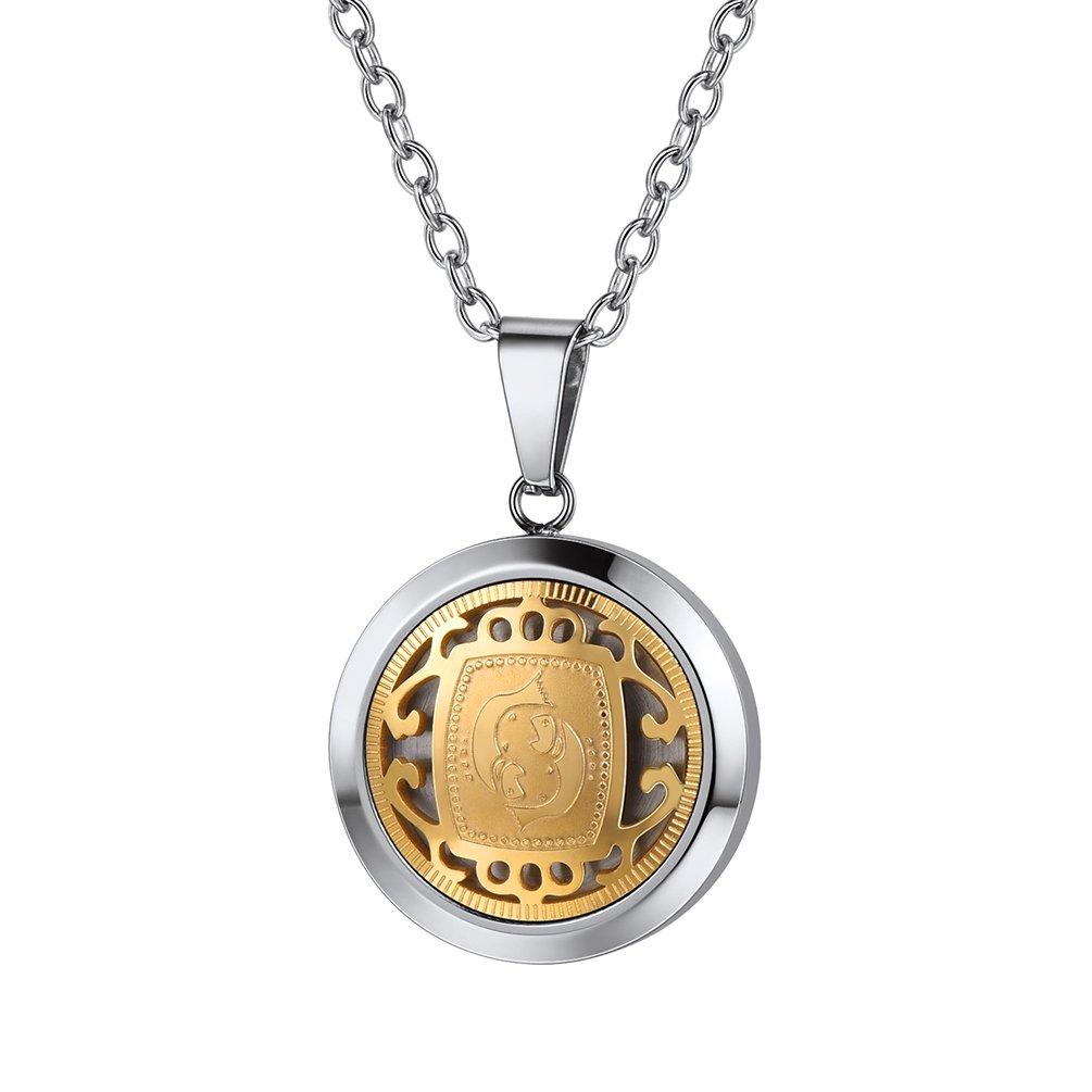 PROSTEEL Sternbilder Sternzeichen Anhänger Halskette Silber Golden Zweifarbig Horoskop Tierkreis Astrologie Halsschmuck mit 55cm Kette PSP3291GJ-EU