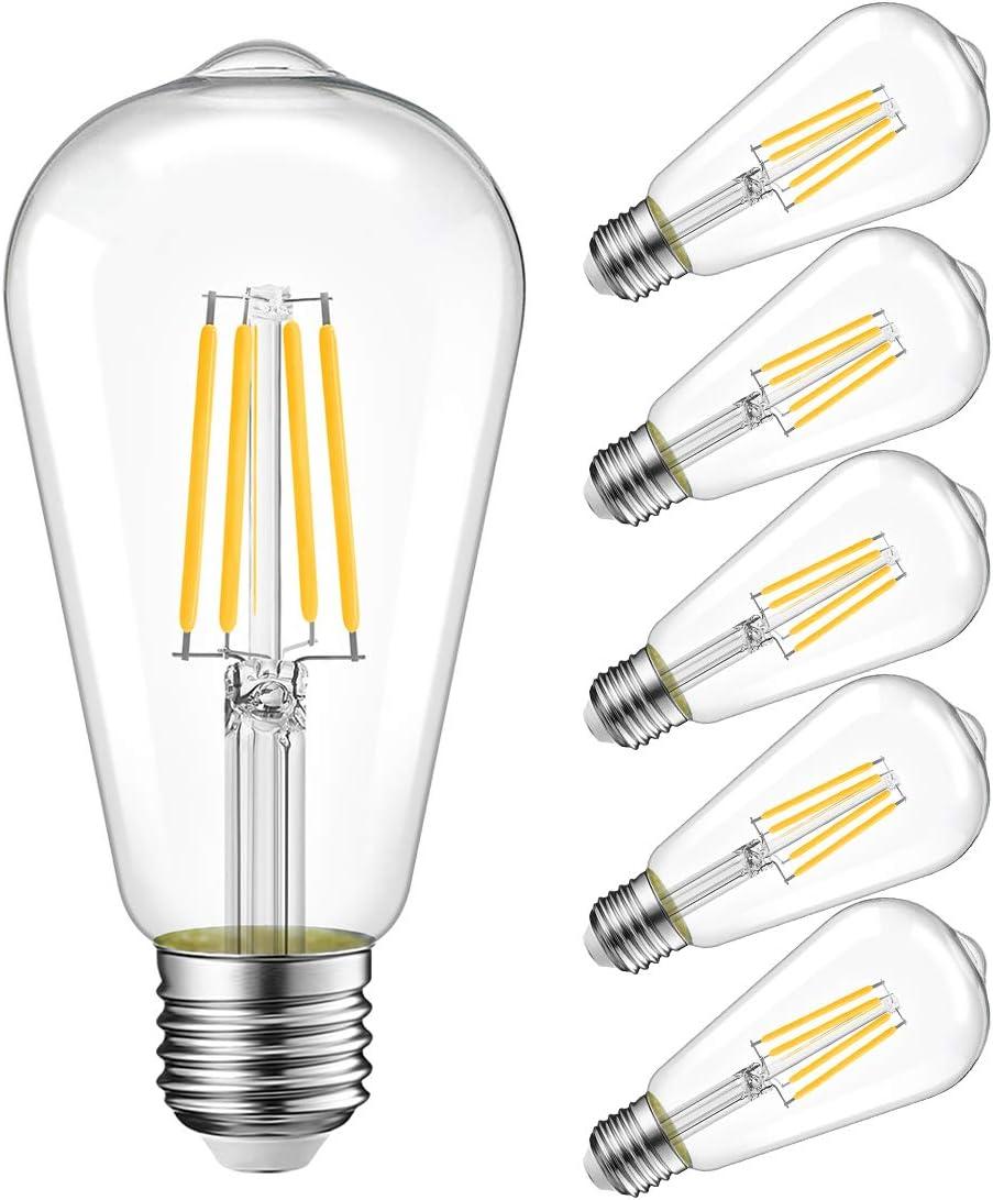 A19 LED 800 Lumen Light Bulb 2700K Warm White 6.5W 60W Equivalent E26 32 Pack