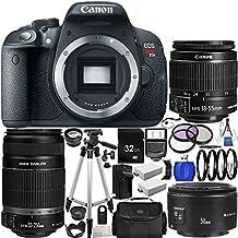 Canon EOS Rebel T5i (700D) DSLR Camera Triple Lens Kit with Canon EF-S 18-55mm f/3.5-5.6 IS STM, EF-S 55-250mm f/4-5.6 IS II & EF 50mm f/1.8 II Autofocus Lenses. Includes Wide Angle & Telephoto, 3 Piece Filter Kit, 4 Piece Macro Filter Set & More