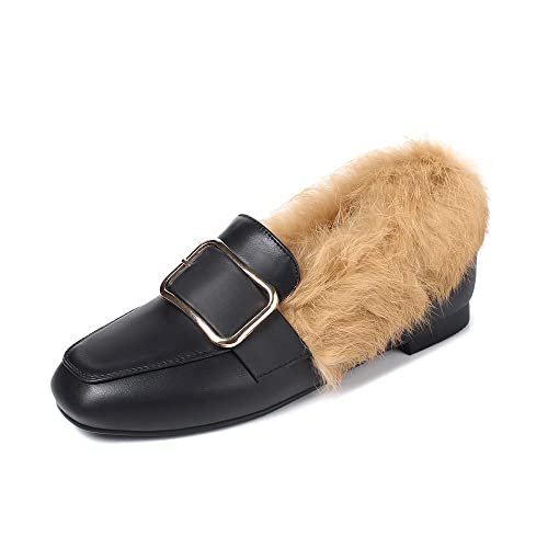 82f0a6d0b4c Meotina Women Flats Shoes Real Rabbit Fur Boat Shoes Buckle Slip On Loafers  (US4