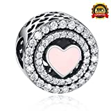 Heart Charm Bead 925 Sterling Silver European Charm Heart Bead fit Pandora Bracelets European Bracelets and Necklaces Unforgettable Mother's Day gift