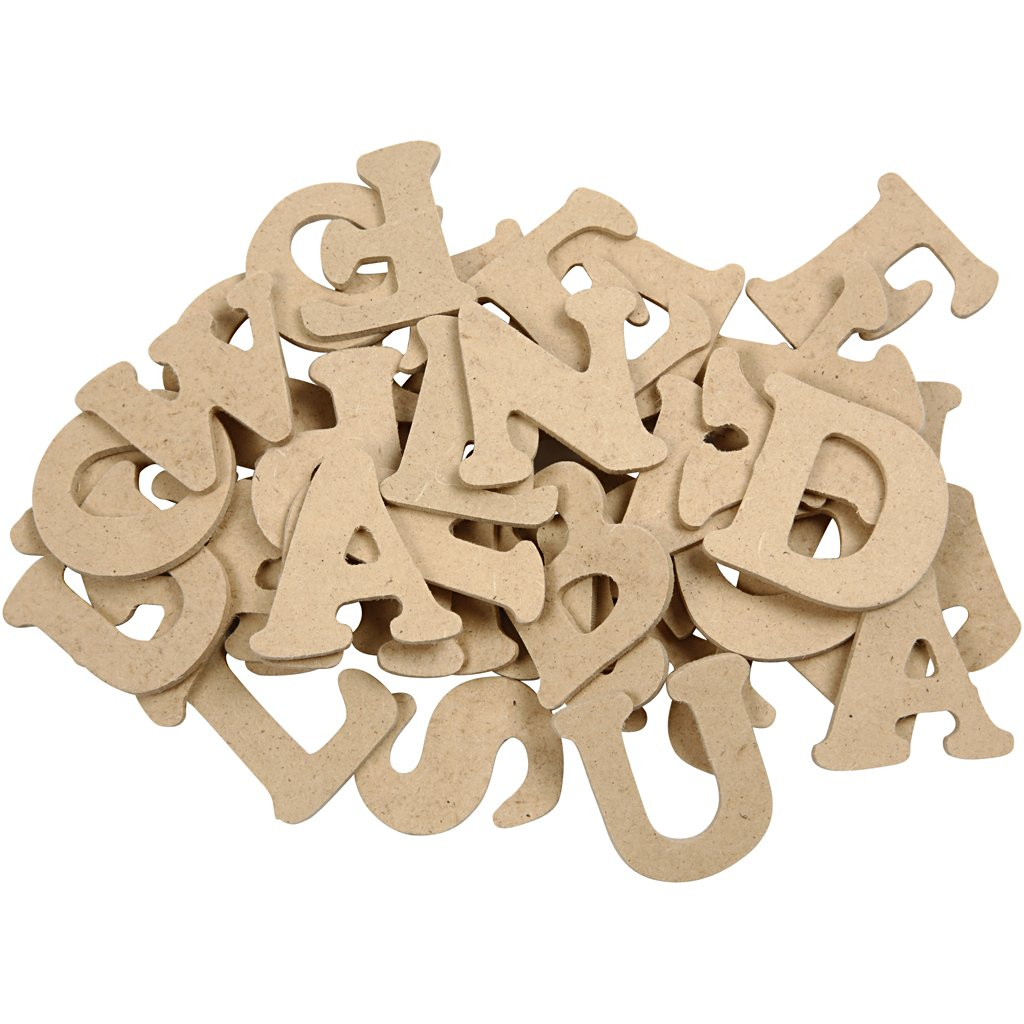 Lettere in legno - assortimento, H: 4 cm, spess. 2,5 mm, MDF, 78pz ...
