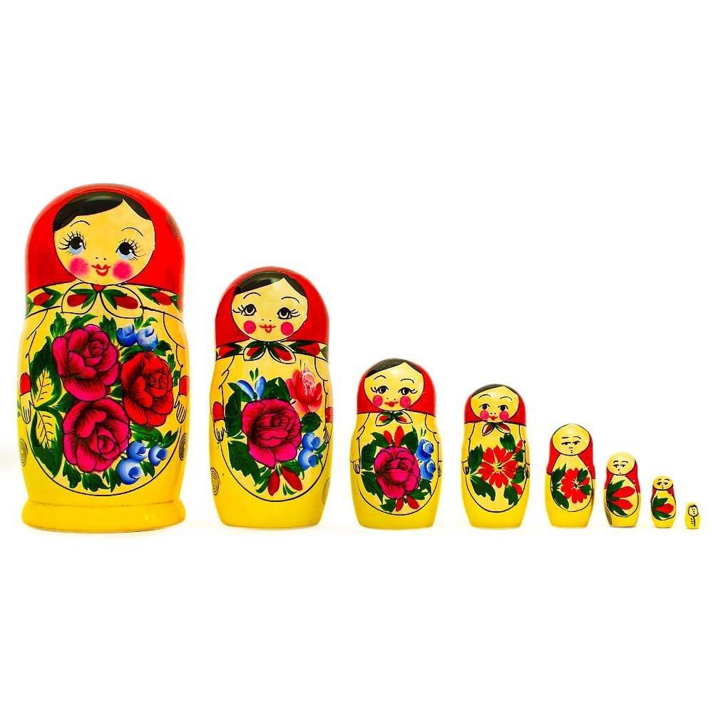 BestPysanky Set of 8 Semyonov Classic Wooden Matryoshka Russian Nesting Dolls 8.5 Inches