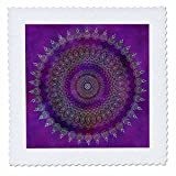 3dRose Andrea Haase Art Illustration - Detailed Purple Mandala Illustration - 25x25 inch quilt square (qs_268256_10)