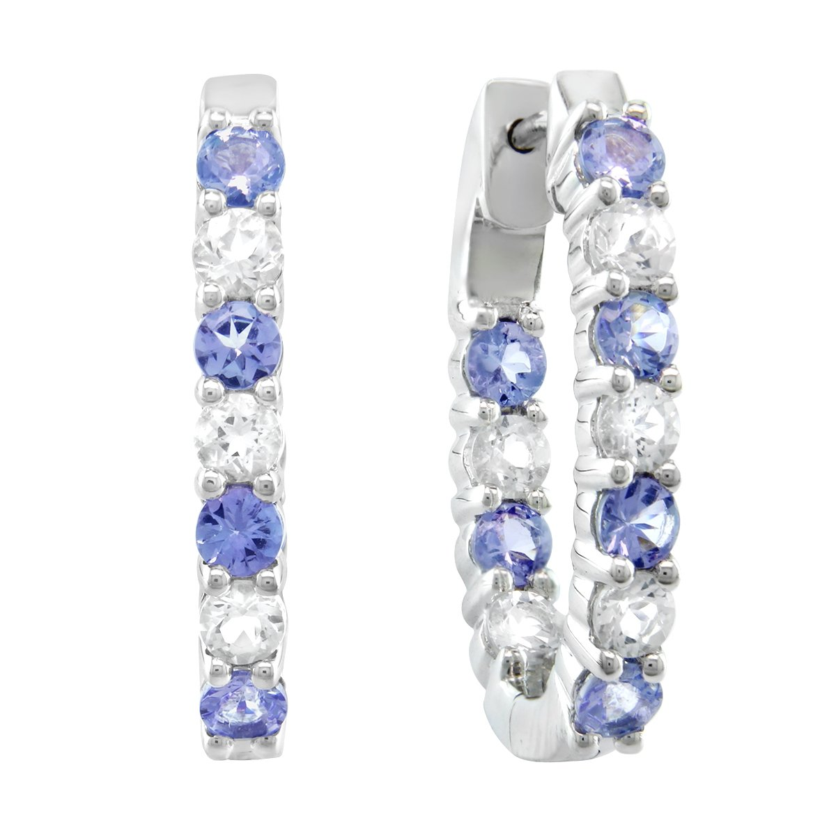 Tanzanite and White Topaz Sterling Silver Inside-out Oval Hoop Earrings