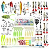 Donql Fishing Lure Set Including Frog Lures Soft Fishing Lure Hard Metal Lure VIB Rattle Crank Popper Minnow Pencil Jig Hook Fishing Spoons for Trout Bass Salmon with Tackle Box (Set A)