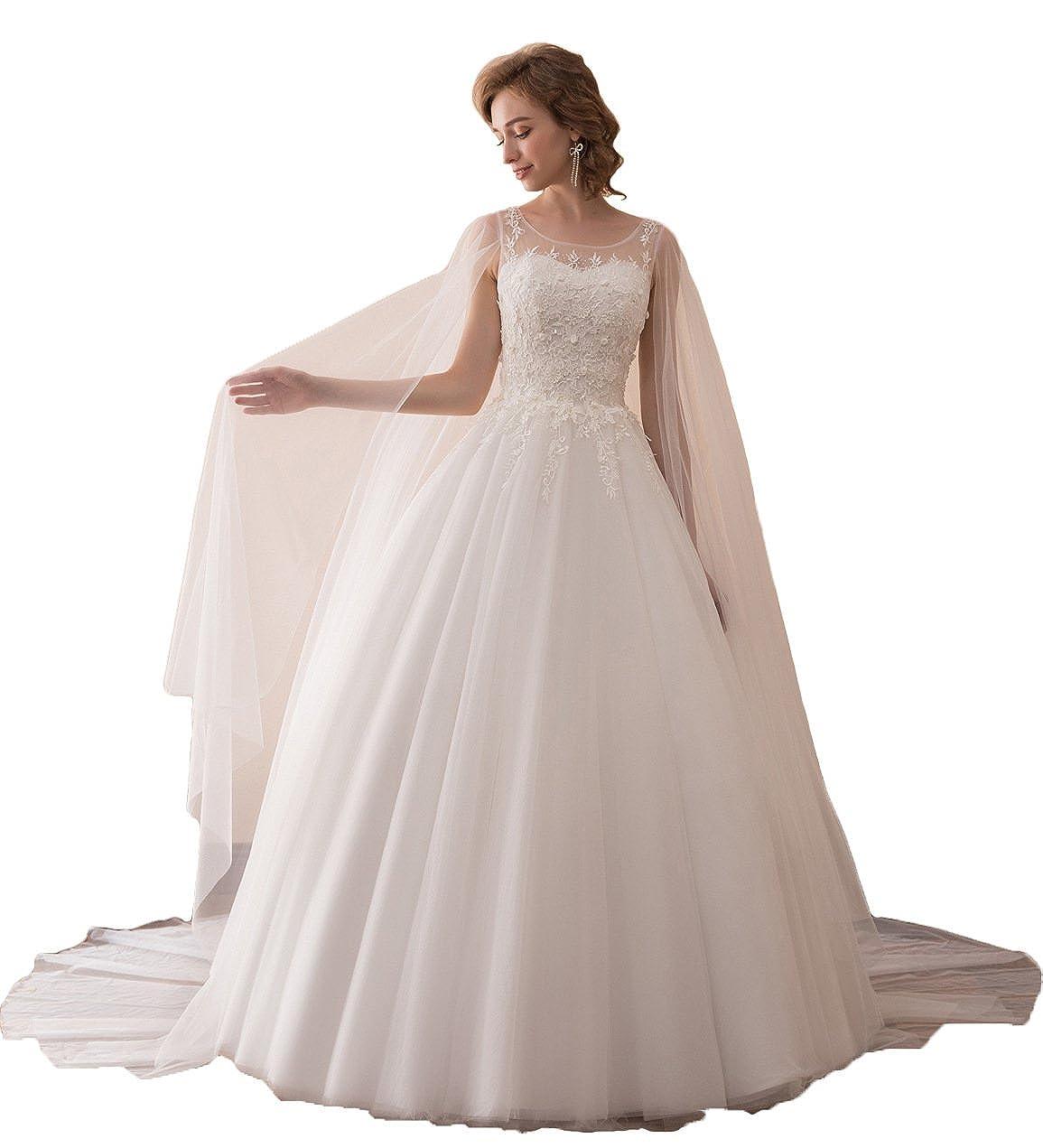Aurora Bridal Womens 2018 Wedding Dress Long Cape Sleeve Formal