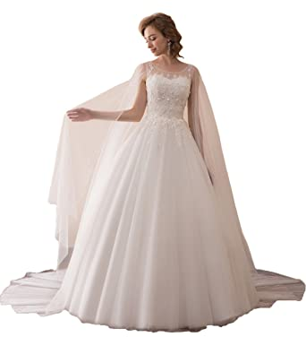 1063781ae Aurora Bridal Women s 2018 Wedding Dress Long Cape Sleeve Formal Bridal  Gowns A35607 at Amazon Women s Clothing store