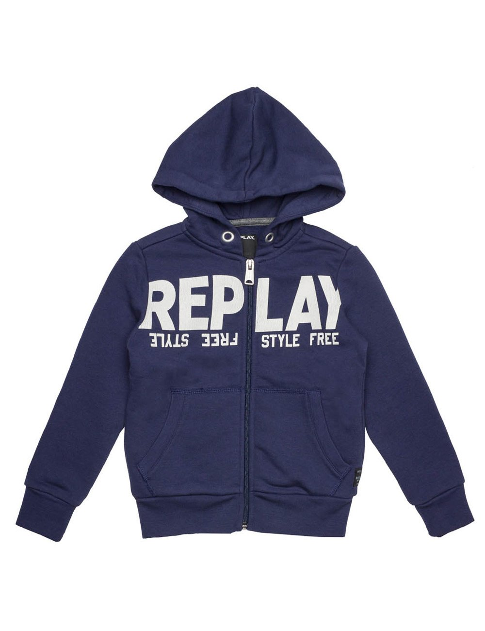 REPLAY Boy's Blue Hoodie With Print In Size 6 Years Blue