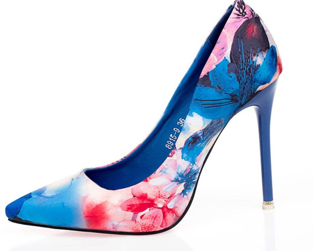 VIVIOO Pumps,Damen Pumps,Damen VIVIOO Pumpsethnischer Art-Retro- Blumen-Blumenspitzefrauen-Pumpen-Schuh-Hohe Absätze Büro-Damen-   Kleid-Schuhe  Blau c3329c