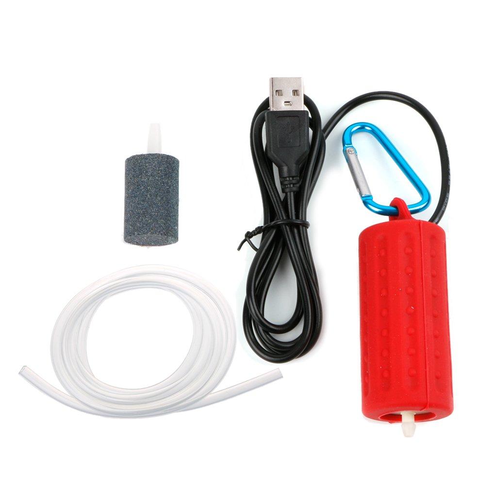 Xuniu Mini Oxygen Air Pump USB Super Silent Air Pump per Acquario Fish Tank Blu