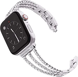 Surace Compatible with Apple Watch Bands 38mm Series 3 Women Bracelet Replacement for Apple Watch Bands Series 6 Series 5 Series 4 40mm Band Compatible with Apple Watch SE Band, Silver