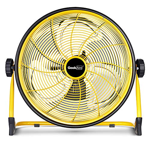 GeekAire Rechargeable Outdoor High Velocity Floor Fan,16'' Portable 15600mAh Battery Operated Fan with Metal Blade for Garage Barn Gym Camp,3-24 h Run Time Cordless Industrial Fan,USB Output for Phone (Best Floor Fans 2019)
