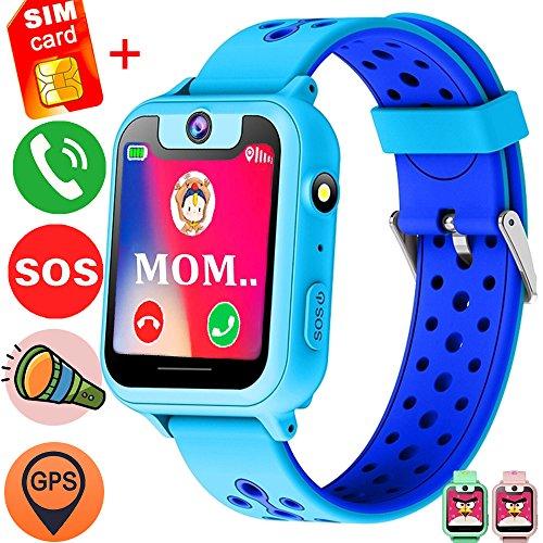 1.54'' Kids Smart Wrist Watch Phone Free SIM (Speedtalk) Card Girls Boys Birthday Gifts Travel Camping GBD GPS Tracker SOS Camera Game Flashlight Alarm Wearable Bracelet