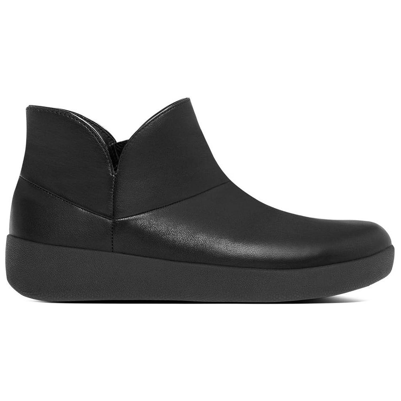 FitFlop™ Supermod II Cuero Tobillo Bota Negro Patente Negro (Black 090)