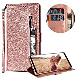 Luxury Glitter Bling Zipper Wallet Phone Case for Samsung Galaxy A6 Plus 2018, MOIKY Bookstyle PU Leather Flip Folio Magnetic Purse Pockets Credit Card Holder Wrist Strap Case Cover for Samsung Galaxy A6 Plus 2018 - Rose Gold