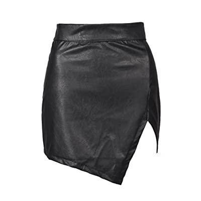 PERSUN Women's High Waisted Bodycon Faux Leather Mini Pencil Skirt at Women's Clothing store