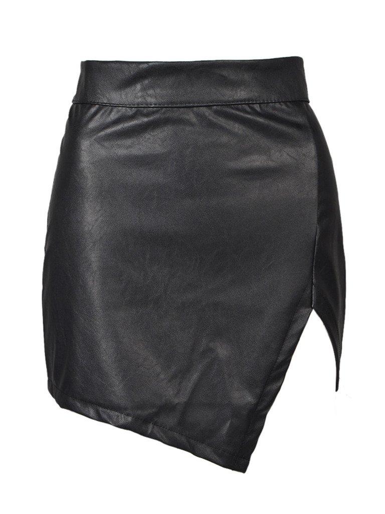 PERSUN Women's Versatile High Waist Bodycon PU Mini A-Line Pencil Skirt