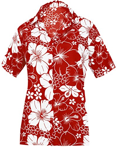LA LEELA Likre Button Down Casual Cruise Day Shirt Red 164|XL - US 40 - 42E