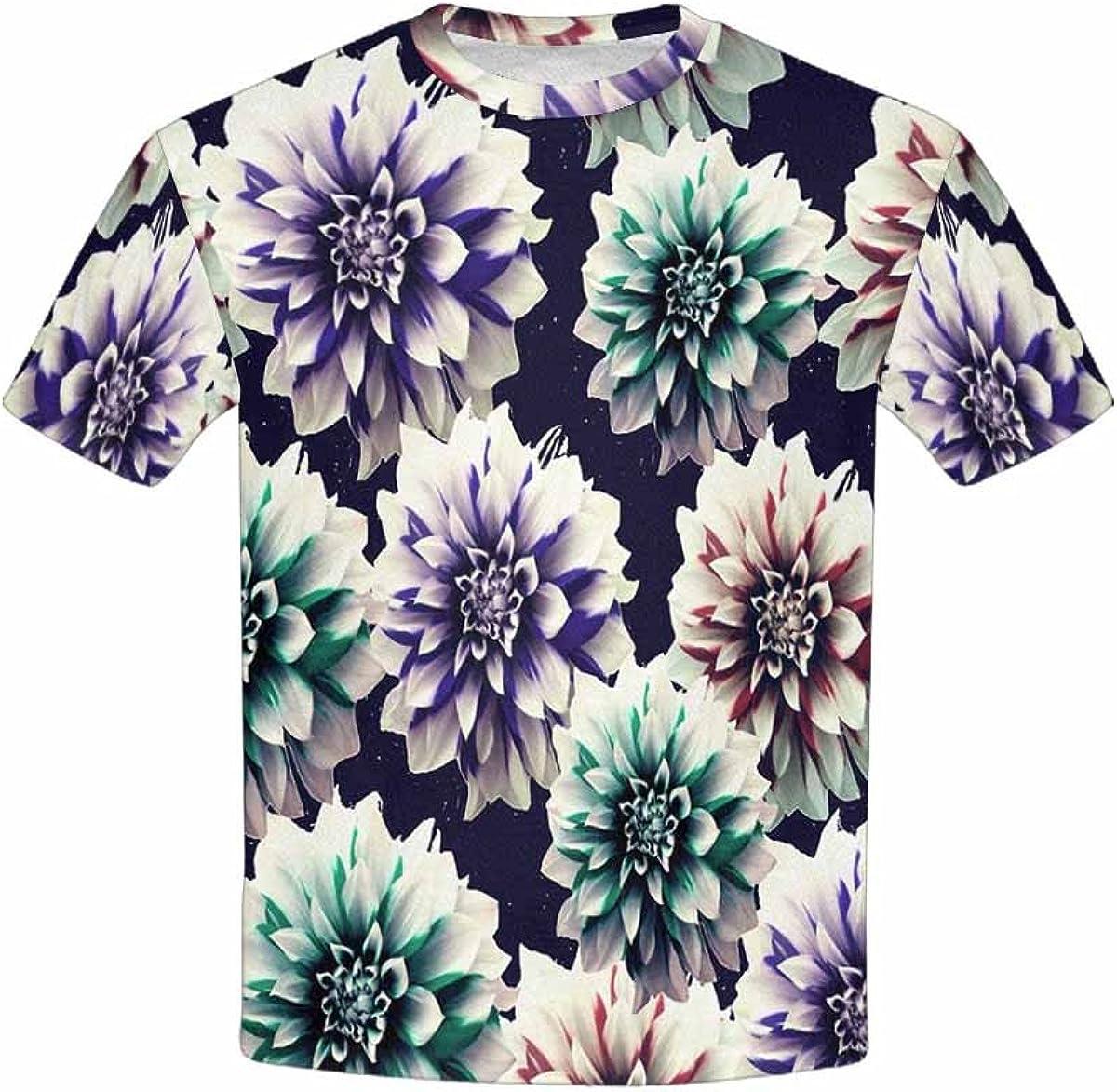 INTERESTPRINT Kids T-Shirt Psychedelic Vintage Floral Pattern XS-XL